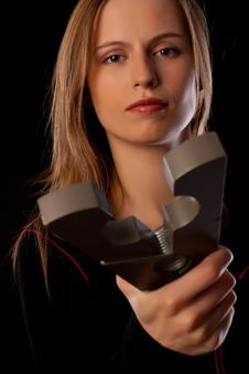 Free Serious Young Woman Threatens You By Huge Pin Royalty Free Stock Photo - 17685775