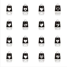 Free Valentine Shopping Bags Icons Stock Photos - 17686243