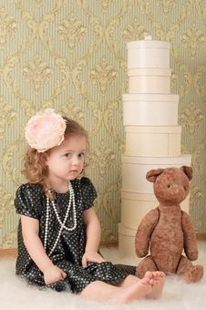 Girl Dressed As A Retro Doll Stock Photos