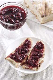Free Cherry Jam On Toast Royalty Free Stock Photography - 17686737