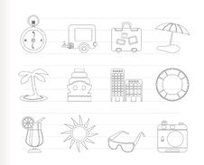 Travel, Holiday And Trip Icons Royalty Free Stock Photo