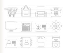 Business, Office And Website Icons Stock Photo