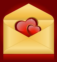Free Envelopes With Red Hearts Stock Image - 17688471