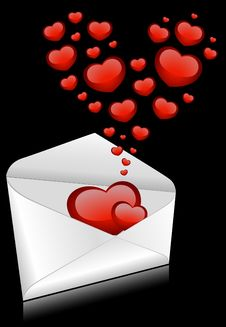 Free Envelopes With Red Hearts Royalty Free Stock Photography - 17688497