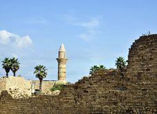 Caesarea Port Tower Stock Photography