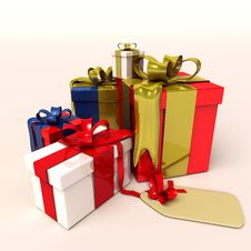 Free 3D Presents For Christmas Or Birthday Royalty Free Stock Images - 17689739