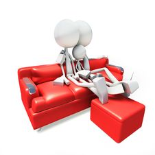 3D Family Watching Television From Sofa Stock Image