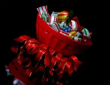 Free Red Bowl With Christmas Candy And  Ribbon Angled Stock Photo - 17690870