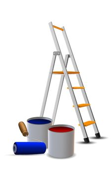 Steps, Paint Drums And Roller Stock Images