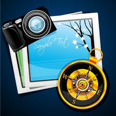 Compass With Camera And Pictures Royalty Free Stock Photos