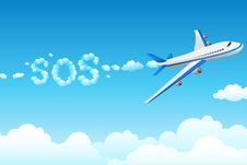 Free Aeroplane With Cloudy Sos Royalty Free Stock Photo - 17691795