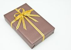 Free Black Gift Box With White Bar Attached Gold Ribbon Stock Photo - 17692340