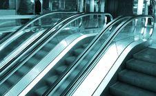 Free Blue Escalators Royalty Free Stock Photography - 17692497