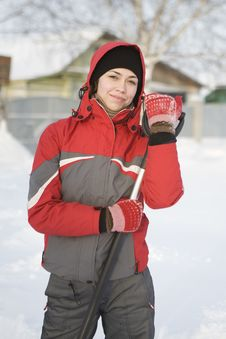 The Girl In A Red Jacket And Mittens Royalty Free Stock Images