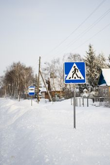 Pedestrian Crossing Traffic Sign On Winter Road Stock Photography