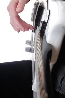 Playing Electrical Bass Guitar Isolated Royalty Free Stock Photo