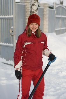 The Girl The Teenager In A Red Winter Jacket And A Stock Image