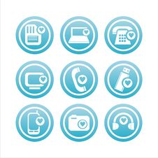 Technology With Hearts Signs Stock Images