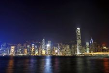 Free Hong Kong Night View Along Victoria Harbour Stock Image - 17696741
