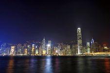 Hong Kong Night View Along Victoria Harbour Stock Image