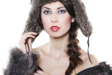 Free Beautiful Woman In A Fur Coat Royalty Free Stock Photos - 17697168