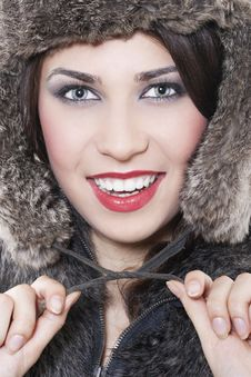 Free Beautiful Woman In A Fur Coat Stock Photography - 17697232