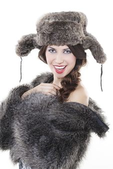 Free Beautiful Woman In A Fur Coat Stock Images - 17697264