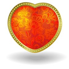 Free Red Heart With Red Floral Ornament Stock Photography - 17697472