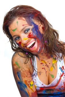 Free Happy Gir Smeared In Paint Royalty Free Stock Photos - 17697638
