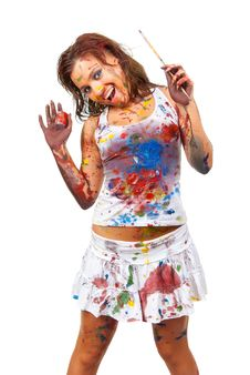 Free Girl Smeared In Paint Stock Images - 17697684