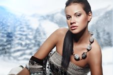Winter  Woman On Snow Stock Images