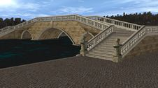Free 3D Render Bridge Over Canal Stock Photography - 17697742