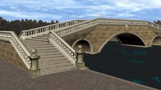 Free 3D Render Bridge Over Canal Royalty Free Stock Photo - 17697765