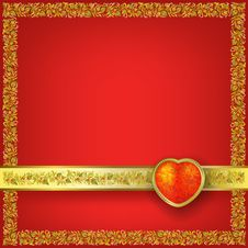 Valentines Greeting With Red Heart Royalty Free Stock Photos