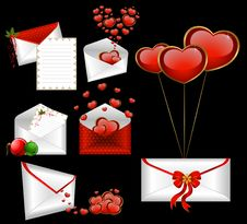 Free Envelopes With Red Hearts Royalty Free Stock Photography - 17697997