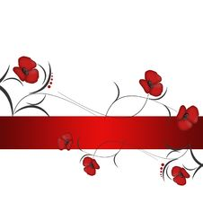 Background With Red Flowers Royalty Free Stock Photo