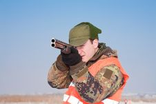 Free Hunter Aiming At The Hunt In Silence Royalty Free Stock Photography - 17699777