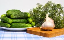 Free Fresh Cucumbers, Garlic And Dill On A Table. Stock Images - 17699804