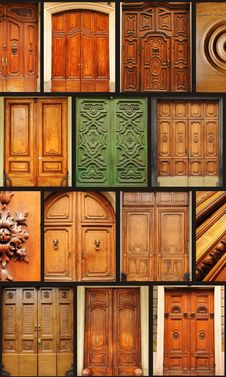 Collection Of Old Wooden Doors Royalty Free Stock Photos