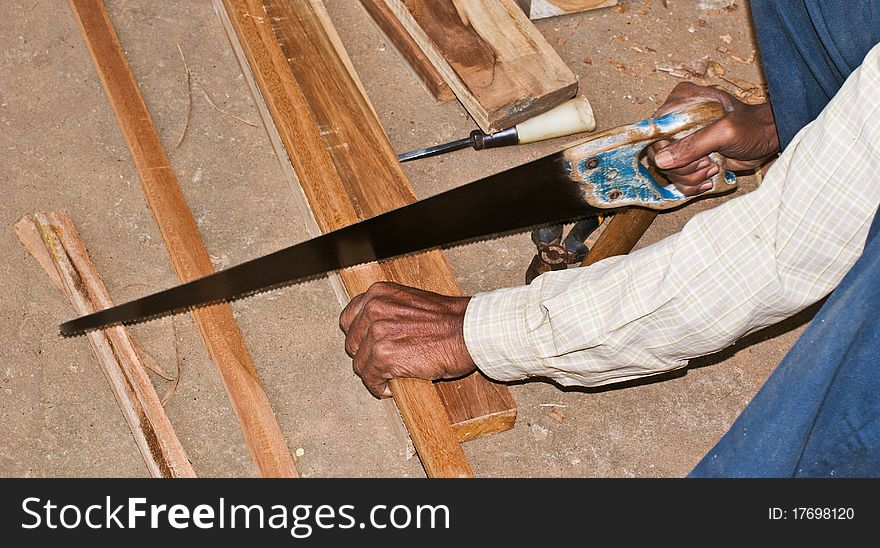 Cutting Wood By Hand Saw Free Stock Images Photos 17698120