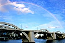 Free Rainbow Over Arched Bridge Royalty Free Stock Images - 1770349