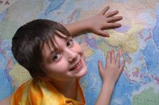 Free The Girl And The Map Stock Images - 1772384