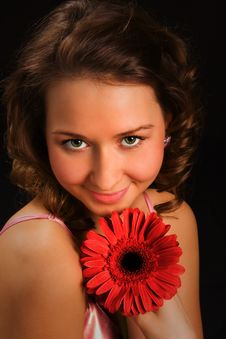 Free Pretty Girl With Red Flower Stock Images - 1776094