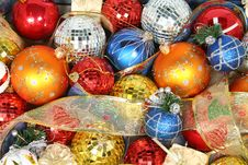 Free Christmas Ornaments Of Different Color And Gift Ribbons Royalty Free Stock Photos - 1778128