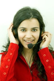 Free Smiling Girl With Headset Stock Photography - 1779902
