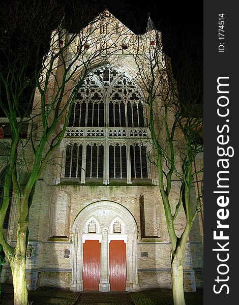 Bruges church by night