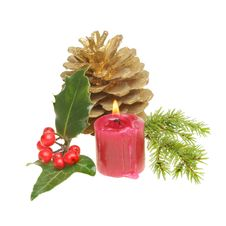 Free Christmas Themed Foliage And Candle Stock Photo - 17700070