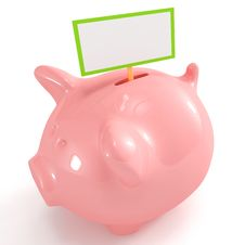 Free Cute Piggy Bank With Blank Sign Stock Photo - 17700480