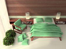 Bedroom,  Rendering Stock Photo