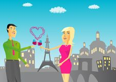 Free Couple With Glass Of Wine Against Paris Background Stock Photography - 17705232